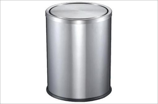 不锈钢圆形翻盖垃圾桶(小)/c42s-03b